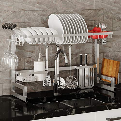 Over The Sink Large Dish Drying Rack Adjustable (34