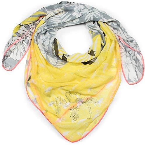 styleBREAKER pañuelo de mujer con motivo veraniego de flamenco, flores, palmeras y papagayos con aplicación de estrás, chal, pañuelo 01016179