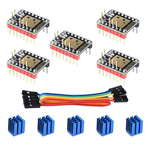 BIQU DIRECT 3D Printer Part Stepstick Mute TMC2209 V1.2 Stepper Motor Driver with Heatsink for SKR V1.3 MKS GEN L Ramps 1.4/1.5/1.6 3D Printer Controller Card (Pack of 5) (UART Mode)