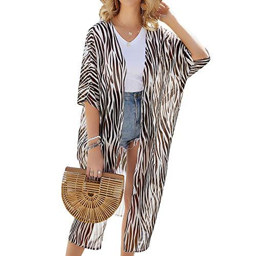 Kimono para Mujer - Cárdigan Largo Kimono, Floral Mujeres Kimono Dormir Bata Verano Satén Suave y Ligero (Tan, XL)