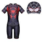 Jungen Badeanzug Spiderman Badeanzug Badebekleidung Bademode Schwimmhose Uv Schutz Shirt Kinder Mit Sonnenhut, A1 Schwarz, 7-8 Jahre
