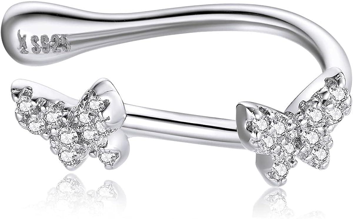 CZ Butterfly Cartilage Ear Cuff 925 Max 57% OFF Earrings Japan Maker New Silver Spa Sterling
