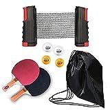 Not Applicable Tischtennis-Paddelset - Premium-Schläger, einziehbares Netz, Bälle, Aufbewahrungstasche - Komplettes Tischtennis-Set Tragbares Tischtennis-Set...