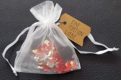 Eine Portion Liebe, eine Handvoll Liebe - zum Verschenken - Liebe to go Geschenk Geschenkverpackung Herz Flitter