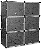 10 Cube Shoe Rack, DIY Cubes Storage Organizer, Multiuse Modular Closet Plastic Cabinet with Doors and Extra Hooks for Entryway Hallway Living Room