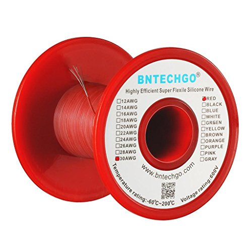 BNTECHGO 30 Gauge Silicone wire spool 100 ft Red Flexible 30 AWG Stranded Tinned Copper Wire