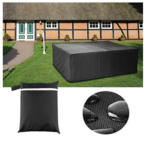 Mifengdaer Muebles cubierta 210D Oxford tela capa de la PU de la cubierta al aire libre Jardín Negro impermeable a prueba de polvo muebles del patio Cubiertas 83.9' 52' 27.6' (213x132x70cm) -Negro