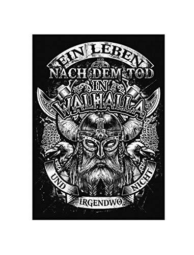 Uglyshirt89 Leben nach dem Tod Premium Leinwand | Odin Wikinger Kriger Keilrahmen Bild Gemälde Wandbild Poster (60 x 40 cm)
