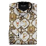 Camisa de vestir para hombre con estampado de oro en color blanco, estilo italiano -  Blanco -  6X-Large