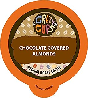 Crazy Cups Flavored Coffee for Keurig K-Cup Machines, Chocolate Covered Almonds, Hot or Iced Drinks, 22 Single Serve, Recyclable Pods