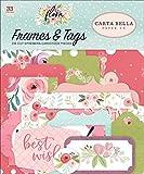 Flora no. 3 Frames & Tags Ephemera includes 33 shapes. Carta Bella Paper Company
