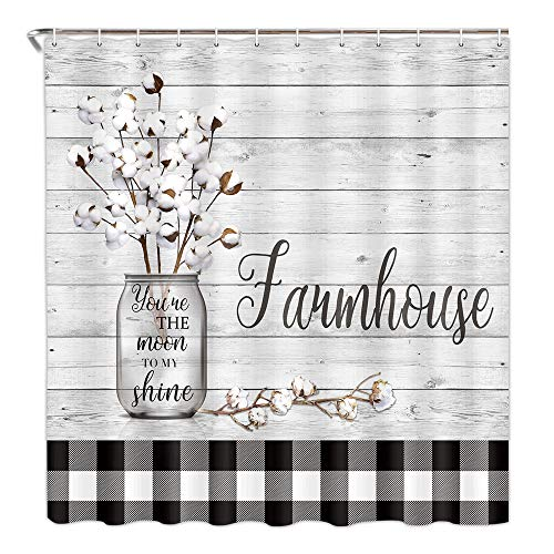 Farmhouse Floral Flower Fabric Shower Curtain, Cotton Flower on Rustic Plaid Country Shower Curtain Bathroom Decor with Hooks Waterproof 69 x 72 inches