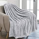 PAVILIA Waffle Textured Fleece Throw Blanket for Couch Sofa, Light Gray | Soft Plush Velvet Flannel Blanket for Living Room | Fuzzy Lightweight Microfiber Throw for All Seasons, 50 x 60 Inches