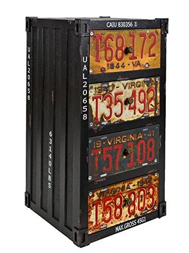 ts-ideen Regal Kommode Schrank im Container Industrie Design Shabby Schwarz Metall Optik Vintage Stil zu Aufbewahrung im Flur Wohnzimmer Büro oder im Badezimmer