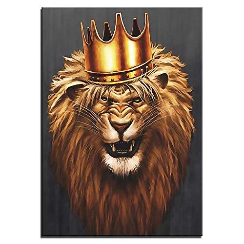 5D Diy Diamante Pintura Diamante Redondo Interior Juego Descompresión Juguete Regalo Decoración,León Con Corona