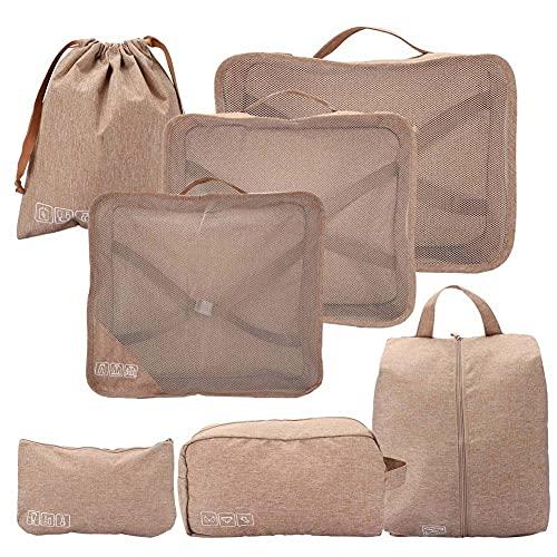 Weikeya Conjunto de Bolsas de Almacenamiento de Viaje, Empaquetado de Equipaje de Viaje Resistente a Las Arrugas 25 x 21cm Poliéster 24 x 15 cm
