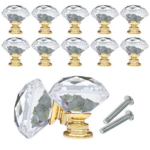 YCDC Knauf für Schubladen, Schränke, Diamantform, Kristallglas, 20 mm, für Kommode, Küche, Kleiderschrank und Schrank, 10 Stück, goldfarben