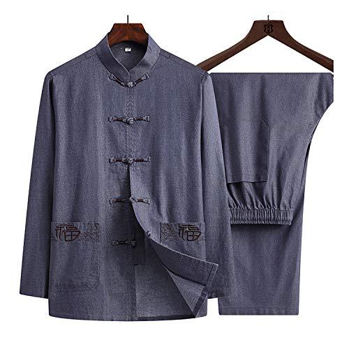 KSGH Traje de manga larga para hombre, uniforme de artes marciales, traje de Tai Chi, chaqueta de ropa tradicional china de Kung Fu para tu ejercicio de Tai Chi