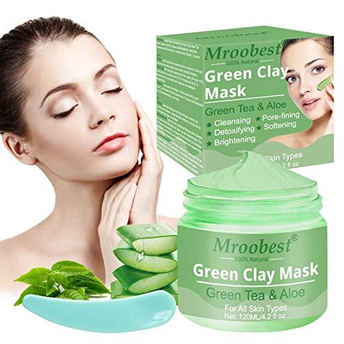 Mud Mask, Blackhead Remover Maske, Green Clay Mask, Reduzieren Sie die Poren Reinigende Gesichtsmaske für Akne Mitesser Fettige Haut mit 120g