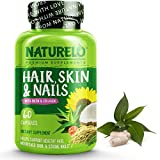 8. NATURELO Hair, Skin and Nails Vitamins - 5000 mcg Biotin, Natural Collagen, Organic Vitamin C - Best Supplement for Faster Hair Growth for Women - Hair Loss Treatment for Men – 60 Capsules