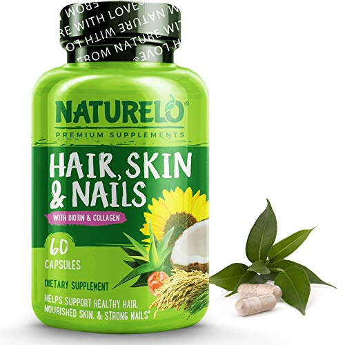 NATURELO Hair, Skin and Nails Vitamins - 5000 mcg Biotin, Natural Collagen, Organic Vitamin C - Supplement for Healthy Skin, Hair Growth for Women and Men – 60 Capsules