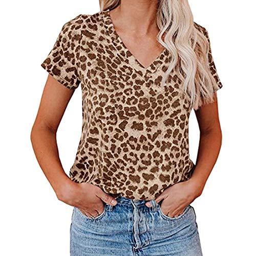 DOLAA Tops con Estampado de Leopardo/Camuflaje para Mujer Camiseta con Cuello en v Camiseta Casual de Manga Corta Túnica Casual Camiseta Camisetas de Manga Corta Camiseta Casuales de Verano