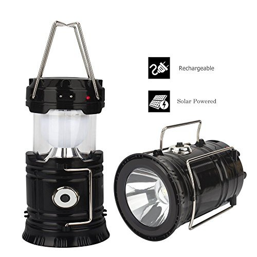 Trail Watcher 2-in-1 Rechargeable Camping Lantern Solar Flashlight...