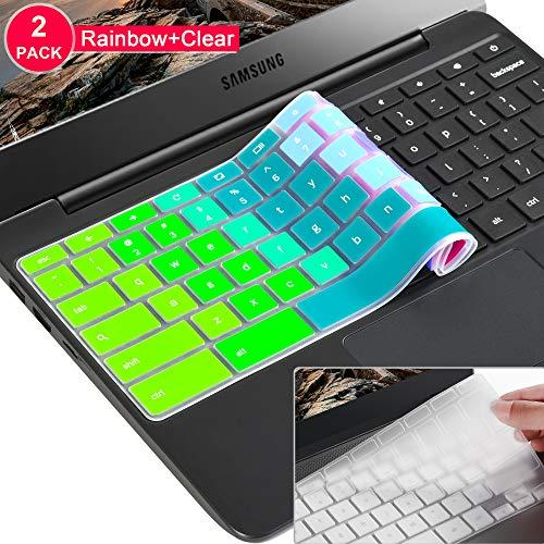 [2 Pack] Samsung chromebook 4 Keyboard Cover Skin for Samsung Chromebook 11.6/15.6 inch Chromebook 2 XE500C12, Chromebook 3 XE500C13,Chromebook Plus V2 2-in-1 XE520QAB 12.2(Clear and Rainbow)