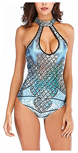 Traje de baño de Playa Sexy de una Pieza para Mujer, protección Solar, Traje de baño con protección contra erupciones, Traje de baño con Estampado de Sirena (Color : Blue, Size : L)