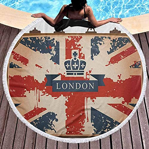 Toalla de playa al aire libre de secado rápido Union Jack Toalla de playa para niños pequeños Maleta de viaje vintage con bandera británica Cinta de Londres e imagen de corona Toalla de playa de micro