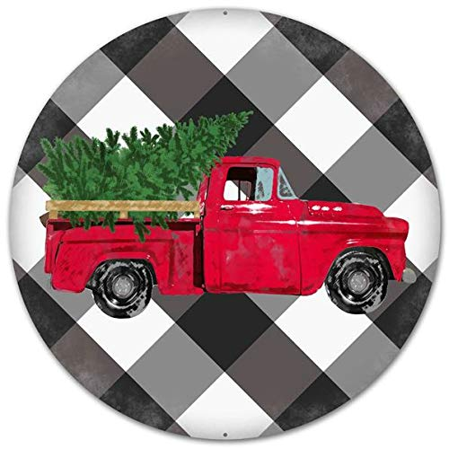 Craig Bachman 12' Vintage Truck on Black White Plaid Tin Metal Christmas Red Farm Truck Wreath Accent Sign MD0445