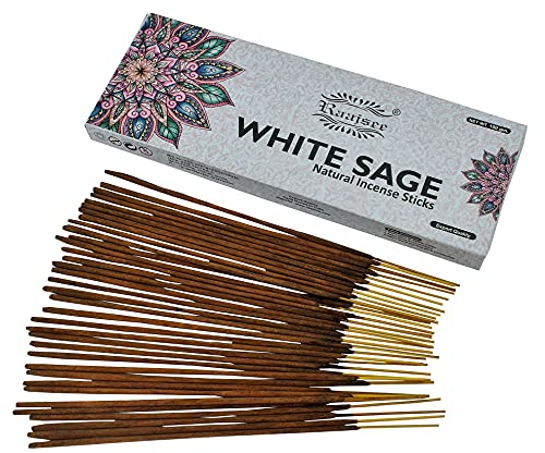 Raajsee White Sage Incense Sticks 100 GMS Pack- 100% Pure Organic Natural Hand Rolled Free from Chemicals
