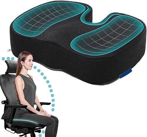 Seat Cushion for Office Chair, Non-Slip Gel Cushion, Memory Foam Coccyx Cushion, Sciatica & Back Pain Relief, Ergonomic Cushion for Desk Chair, Seat Chair Cushion with Washable Cover