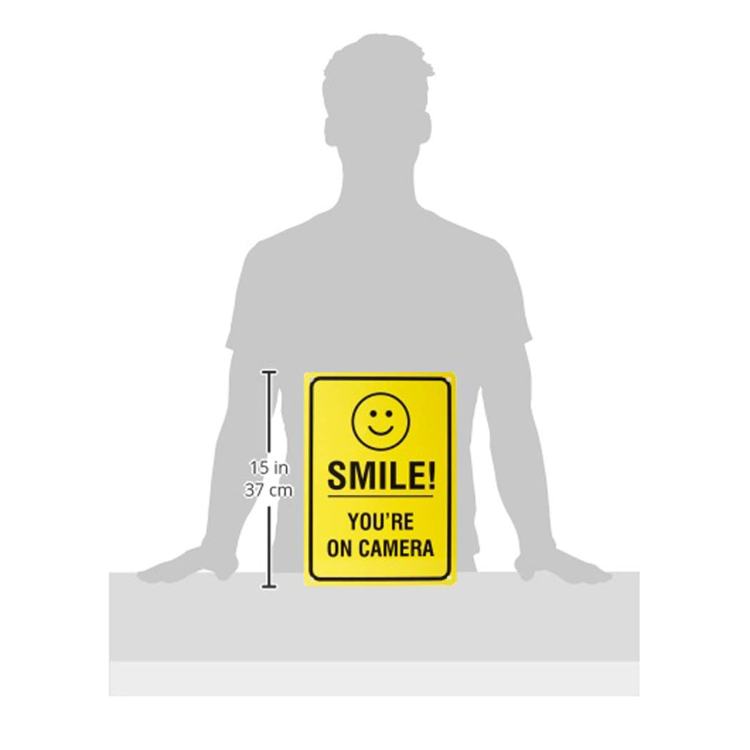 "Amazon Basics Video Surveillance Sign, Smile You're on Camera, 14"" x 10"""