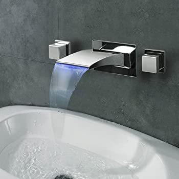 Lightinthebox Contemporary Wall Mounted LED Waterfall with Ceramic Valve Two Handles Three Holes for Chrome Bathroom Sink Faucet