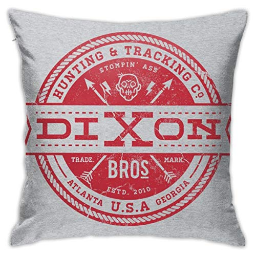 HONGYANW Dixon Bros Hunting and Tracking Co Walking Dead Funda de almohada roja de doble cara, impresión oculta, funda de almohada con estampado de 45,7 x 45,7 cm