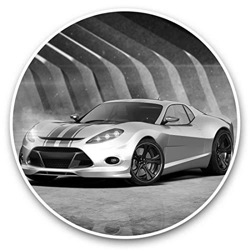 Impresionantes pegatinas de vinilo (juego de 2) 25 cm bw – Concepto plateado coche deportes coche divertido calcomanías para portátiles, tabletas, equipaje, reserva de chatarras, neveras, regalo genial #36399