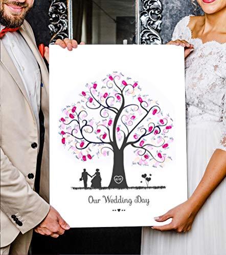 Wedding Tree Image sur toile, empreintes digitales - pour mariage Motif arbre 2, 45 x 60 cm