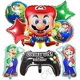 Mario Bros Globo Aluminio Globo Mario Bros Globos de Fiesta Mario Bros Helium Foil Balloons Cumpleaños Suministros de Fiesta - 9 Piezas