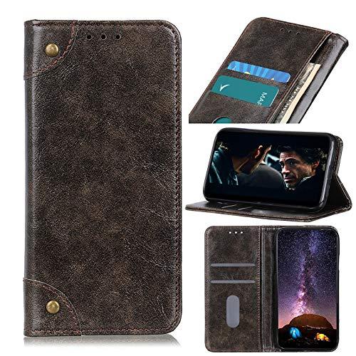 NEINEI Funda para LG K53,Carcasa Libro Billetera PU Cuero de Vaca con [Ranura para Tarjeta][Cierre Magnetico],Premium Piel Genuina Flip Phone Cover Case,Café