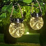 Solar Hanging Lights Outdoor Waterproof, 2 Pack Solar Cracked Glass Ball Lights 30 LEDs Warm White, Solar Crackle Globe Lights Gazing Ball for Yard Garden Patio Decor