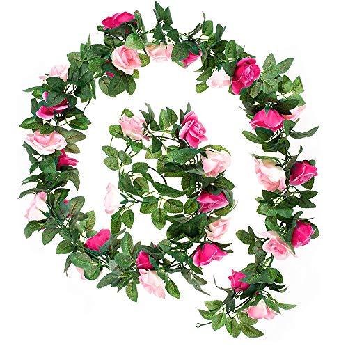 Künstlich Blumengirlande 2 Stück, Rosen Blumen Girlanden 14.4ft Seidenblume Girlanden Künstlich Dekoration,...