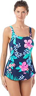 Gabar Chlorine Resistant Hydrofinity Navy Native Floral D-Cup Square Neck Sarong One Piece Swimsuit Size 18D