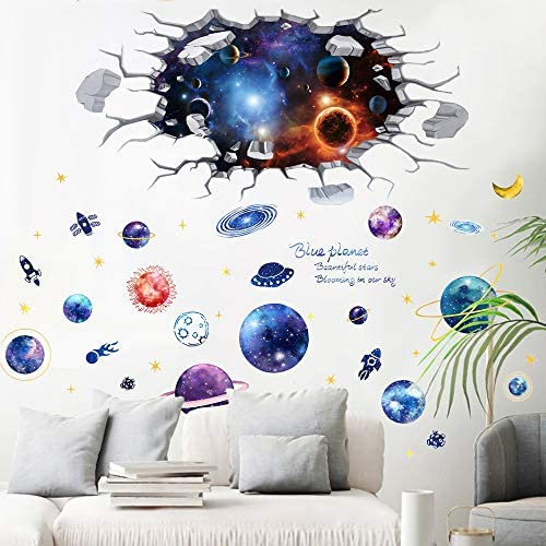 2 Pack Creative 3D Space Galaxy Wall Decals TANOKY Removable PVC Outer Space Planet Wall Stickers product image