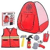 GIMOCOOL Juegos de rol de disfraz de bombero para niños, juguetes de juego de rol de bombero, juego de juguetes para niños