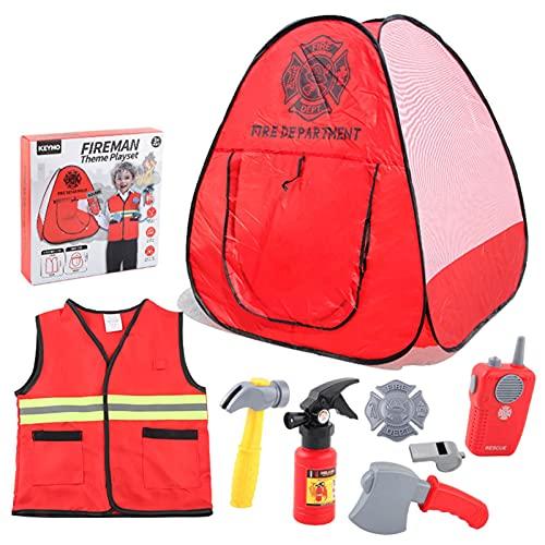 Ulapithi Disfraz de bombero con accesorios de juguete de combate para nios Juego de rol de bombero Disfraces con accesorios de bombero simulan juguetes para nios nios nias 3 4 5 6 7 8 aos