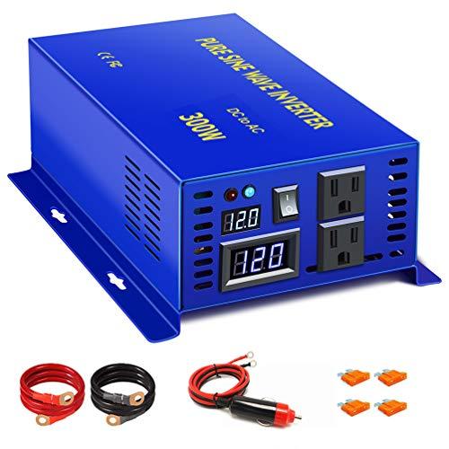 XYZ INVT 300 watt Pure Sine Wave Inverter Peak 600W Car Power Inverter 12v to 110v 120v with Cigarette Lighter (300w12v)