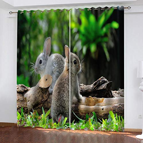 zpangg Black Out Window Cover Rabbit Blackout For Children Bedroom Eyelet Thermal Insulated Room Darkening Curtains For Nursery Living Room Bedroom 184×214Cm