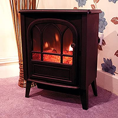 Kingfisher Limitless 2000W Black Free-standing Stove Cast Iron Effect Electrical Fireplace Heater