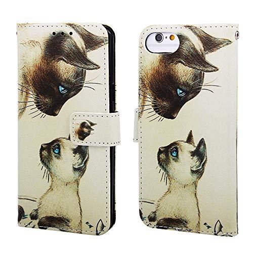Nadoli Leder Hülle für iPhone SE 2020,Bunt Weiß Katze Malerei Ultra Dünne Magnetverschluss Standfunktion Handyhülle Tasche Brieftasche Etui Schutzhülle